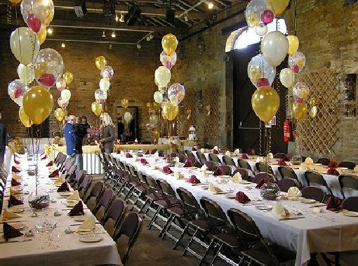 The barn at Oakwell Hall, ready for a wedding reception